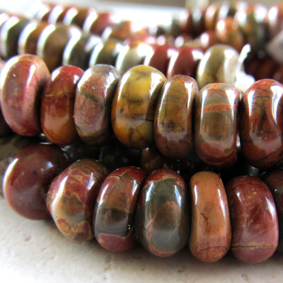 Jasper Beads 10 X 5mm Smooth Natural Picasso Jasper Multicolored Rondelles - 20 Pieces