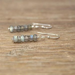 Labradorite Earrings, Labradorite Jewelry, Wire Wrapped, Sterling Silver, Dangle, Drop Earrings, Blue Flash, Gray, Gemstone Earrings | Natural genuine Gemstone earrings. Buy crystal jewelry, handmade handcrafted artisan jewelry for women.  Unique handmade gift ideas. #jewelry #beadedearrings #beadedjewelry #gift #shopping #handmadejewelry #fashion #style #product #earrings #affiliate #ad