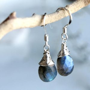 Shop Labradorite Earrings! LABRADORITE Earrings, Sterling Silver Goldfilled wire wrap, natural green gemstone blue golden flashes, minimalist artisan drops, gift, 4521 | Natural genuine Labradorite earrings. Buy crystal jewelry, handmade handcrafted artisan jewelry for women.  Unique handmade gift ideas. #jewelry #beadedearrings #beadedjewelry #gift #shopping #handmadejewelry #fashion #style #product #earrings #affiliate #ad