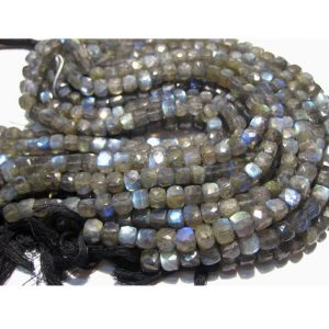 Labradorite Beads, 7mm Beads, Faceted Box Beads, 52 Pieces Approx, 10 Inch Strand, Wholesale Gemstones