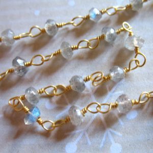 PRAYER Chain, Rosary Chain, LABRADORITE Gemstone Chain, by the foot, Wire Wrap Rondelles, Gold or Silver Plated, rc.2