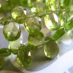 Shop Peridot Faceted Beads! Shop Sale..  5 pcs, PERIDOT Pear Briolettes, 8-9 mm, Luxe AAA, Granny Apple Green, faceted, August birthstone wholesale gem beads 89 | Natural genuine faceted Peridot beads for beading and jewelry making.  #jewelry #beads #beadedjewelry #diyjewelry #jewelrymaking #beadstore #beading #affiliate #ad