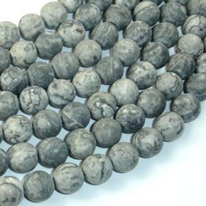 Shop Picture Jasper Round Beads! Matte Gray Picture Jasper Beads, 10mm (10.5 Mm) Round Beads, 15.5 Inch, Full Strand, Approx 38 Beads, Hole 1mm, A Quality (141054007) | Natural genuine round Picture Jasper beads for beading and jewelry making.  #jewelry #beads #beadedjewelry #diyjewelry #jewelrymaking #beadstore #beading #affiliate #ad