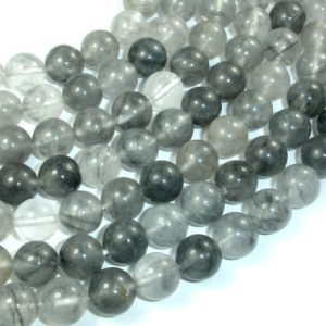 Gray Quartz, 10mm (10.5 mm) Round Beads, 15.5 Inch, Full strand, Approx 38 beads, Hole 1 mm (242054003)