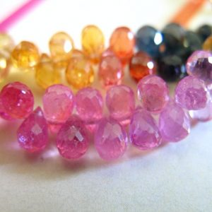 Shop Sapphire Bead Shapes! SAPPHIRE Teardrop Tear Drop Briolettes Gemstone Gem Stone Bead, 4-5.5 mm, Tiny Dainty Tear Drops September Birthstone Precious Gems tr solo | Natural genuine other-shape Sapphire beads for beading and jewelry making.  #jewelry #beads #beadedjewelry #diyjewelry #jewelrymaking #beadstore #beading #affiliate #ad