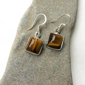 Shop Tiger Eye Jewelry! Tiger Eye Earrings, Small Silver Earrings, Sterling Silver Earrings, Dangle, Natural Tiger Eye Gemstone, Boho Earrings, Drop Earrings, Gift | Natural genuine Tiger Eye jewelry. Buy crystal jewelry, handmade handcrafted artisan jewelry for women.  Unique handmade gift ideas. #jewelry #beadedjewelry #beadedjewelry #gift #shopping #handmadejewelry #fashion #style #product #jewelry #affiliate #ad