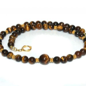 Shop Tiger Eye Necklaces! Men's Necklace, For Men, Tiger's Eye And Gold Vermeil Necklace, Necklace For Man, Man's Necklace, Men's Beaded Necklace, Men's Bead Necklace | Natural genuine Tiger Eye necklaces. Buy handcrafted artisan men's jewelry, gifts for men.  Unique handmade mens fashion accessories. #jewelry #beadednecklaces #beadedjewelry #shopping #gift #handmadejewelry #necklaces #affiliate #ad