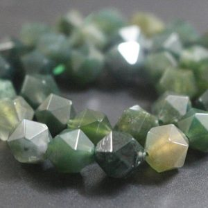 Moss Agate Faceted Nugget Beads,6mm/8mm/10mm/12mm Faceted Moss Agate Star Cut Nugget Beads,15 Inches One Starand