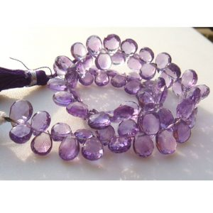 Amethyst – Brazilian Amethyst Micro Faceted Pear Shaped Briolette – 8x6mm Approx – 23 Pieces