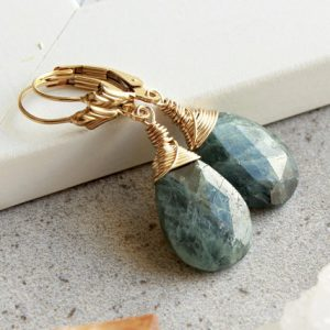 Shop Aquamarine Earrings! Moss Aquamarine Gold Filled Earrings wire wrapped genuine natural blue grey gemstone minimalist dangle drops March birthstone gift 4732 | Natural genuine Aquamarine earrings. Buy crystal jewelry, handmade handcrafted artisan jewelry for women.  Unique handmade gift ideas. #jewelry #beadedearrings #beadedjewelry #gift #shopping #handmadejewelry #fashion #style #product #earrings #affiliate #ad