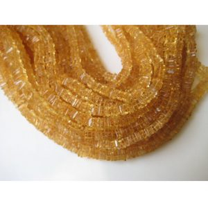 Shop Citrine Bead Shapes! Citrine Finest Quality Square Heishi Beads Size 6mm approx, Natural stone Wholesale Price, Half Strand | Natural genuine other-shape Citrine beads for beading and jewelry making.  #jewelry #beads #beadedjewelry #diyjewelry #jewelrymaking #beadstore #beading #affiliate #ad