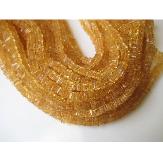 6mm Citrine Square Heishi Beads, Citrine Flat Square Spacer Beads, Citrine For Jewelry, Citrine For Neckalce (8in To 16in Options)
