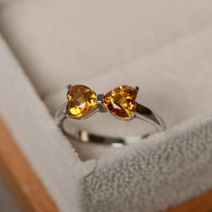 Shop Citrine Rings! Natural citrine ring, heart ring, sterling silve ring, engagement ring, promise ring, gemstone quartz | Natural genuine Citrine rings, simple unique alternative gemstone engagement rings. #rings #jewelry #bridal #wedding #jewelryaccessories #engagementrings #weddingideas #affiliate #ad