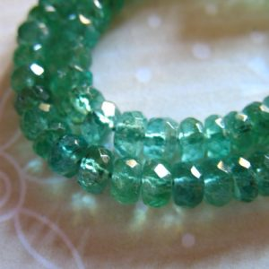 Shop Emerald Beads! 5-100 pcs / 3-4 mm EMERALD RONDELLES Beads, Luxe AAA Zambian Emerald Gemstone Beads Gems, may birthstone brides bridal true 23 tr e | Natural genuine beads Emerald beads for beading and jewelry making.  #jewelry #beads #beadedjewelry #diyjewelry #jewelrymaking #beadstore #beading #affiliate #ad
