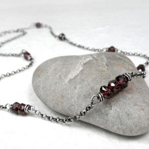 Shop Garnet Necklaces! Red Garnet Choker Necklace, Dainty Garnet Jewelry, Chain Necklace, Minimalist Sterling Silver Necklace, January Birthstone Gift, Base Chakra | Natural genuine Garnet necklaces. Buy crystal jewelry, handmade handcrafted artisan jewelry for women.  Unique handmade gift ideas. #jewelry #beadednecklaces #beadedjewelry #gift #shopping #handmadejewelry #fashion #style #product #necklaces #affiliate #ad