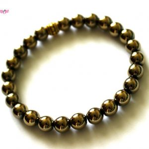 Shop Hematite Bracelets! 8mm Pyrite Hematite Bracelet, Pyrite Hematite Wrist Beads, Pyrite Hematite Jewelry, Pyrite Hematite Wrist Mala, Gold Bead Stretch Bracelet | Natural genuine Hematite bracelets. Buy crystal jewelry, handmade handcrafted artisan jewelry for women.  Unique handmade gift ideas. #jewelry #beadedbracelets #beadedjewelry #gift #shopping #handmadejewelry #fashion #style #product #bracelets #affiliate #ad