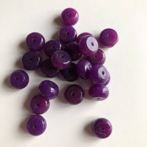 Jade Purple Rondelle Gemstone Beads – Bead Size 10x7mm – Top Drilled – Dyed – Purple – Polished And Rounded – 10 Beads Per Order