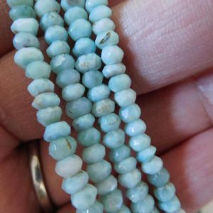5-50 pcs / LARIMAR Beads Rondelle Gemstones / Luxe AAA, 3-3.5 mm, Wholesale Semiprecious Gems, Faceted / Dominican Republic solo true | Natural genuine rondelle Larimar beads for beading and jewelry making.  #jewelry #beads #beadedjewelry #diyjewelry #jewelrymaking #beadstore #beading #affiliate #ad