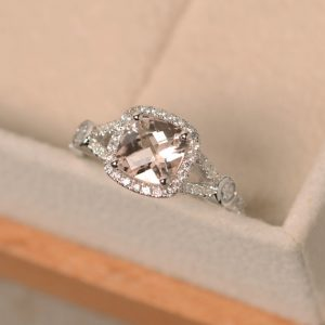 Shop Morganite Engagement Rings! Morganite ring, cushion cut ring, engagement ring, pink morganite | Natural genuine Morganite rings, simple unique alternative gemstone engagement rings. #rings #jewelry #bridal #wedding #jewelryaccessories #engagementrings #weddingideas #affiliate #ad
