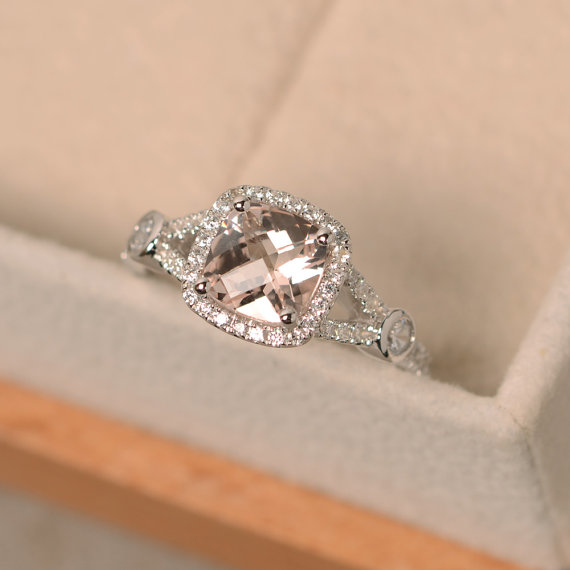 Morganite Ring, Cushion Cut Ring, Engagement Ring, Pink Morganite
