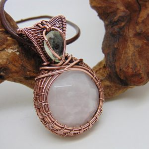 Shop Rose Quartz Necklaces! Rose Quartz Pendant – Wire Wrapped Pendant – Copper Jewellery – Pink Quartz Jewellery – Natural Quartz Necklace – Copper Anniversary | Natural genuine Rose Quartz necklaces. Buy crystal jewelry, handmade handcrafted artisan jewelry for women.  Unique handmade gift ideas. #jewelry #beadednecklaces #beadedjewelry #gift #shopping #handmadejewelry #fashion #style #product #necklaces #affiliate #ad