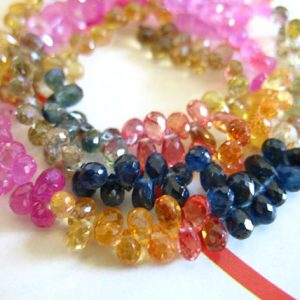 Shop Briolette Beads! 5-50 pcs, SAPPHIRE Briolettes Beads Gemstones Teardrops Tear Drops, Tiny Petite 4-5.5 mm, Pink Blue Yellow Green September Birthstone tr | Natural genuine other-shape Gemstone beads for beading and jewelry making.  #jewelry #beads #beadedjewelry #diyjewelry #jewelrymaking #beadstore #beading #affiliate #ad