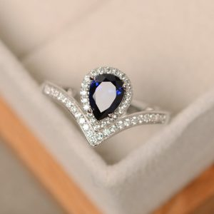 Shop Sapphire Rings! Sapphire ring, pear cut, sterling silver, engagement ring | Natural genuine Sapphire rings, simple unique alternative gemstone engagement rings. #rings #jewelry #bridal #wedding #jewelryaccessories #engagementrings #weddingideas #affiliate #ad