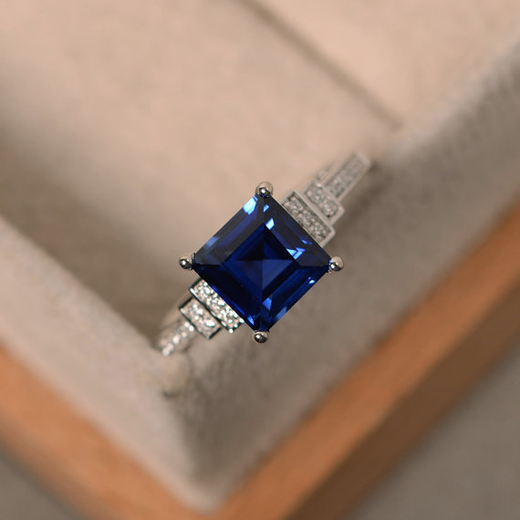 Vintage Blue Sapphire Ring,square Cut, Sterling Silver, September Birthstone, Promise Ring For Her