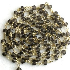 Shop Smoky Quartz Faceted Beads! Smoky Quartz Wire Wrapped Faceted Rondelle Beads, Chain By The Foot, Rosary Style Beaded Chain, 18KT Gold Plated – KS3538 | Natural genuine faceted Smoky Quartz beads for beading and jewelry making.  #jewelry #beads #beadedjewelry #diyjewelry #jewelrymaking #beadstore #beading #affiliate #ad