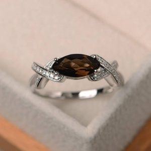 Shop Smoky Quartz Rings! Cocktail party ring, natural smoky quartz ring, marquise cut brown gemstone, sterling silver ring | Natural genuine Smoky Quartz rings, simple unique handcrafted gemstone rings. #rings #jewelry #shopping #gift #handmade #fashion #style #affiliate #ad