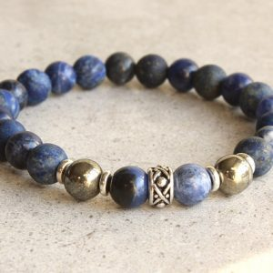 Sodalite Pyrite Stretchy Bracelet, Navy Blue Authentic Natural Stone Stack, Mala, Yoga, Unisex Holiday Gift Idea, For Him, For Her, 4775