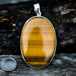 Shop Tiger Eye Necklaces! Tiger Eye Pendant – Large Tigers Eye Pendant – Tigers Eye Necklace – Tigers Eye Silver Pendant – Unisex Tiger Eye Pednant -Tiger Eye Jewelry | Natural genuine Tiger Eye necklaces. Buy crystal jewelry, handmade handcrafted artisan jewelry for women.  Unique handmade gift ideas. #jewelry #beadednecklaces #beadedjewelry #gift #shopping #handmadejewelry #fashion #style #product #necklaces #affiliate #ad