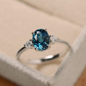 Blue topaz ring, oval gemstone ring, sterling silver, promise ring | Natural genuine Topaz rings, simple unique handcrafted gemstone rings. #rings #jewelry #shopping #gift #handmade #fashion #style #affiliate #ad