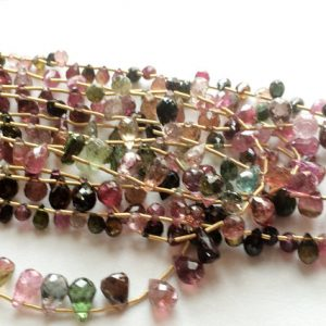 Shop Tourmaline Faceted Beads! Multi Tourmaline Briolette Beads, Faceted Tear Drop Bead, AAA Multi Tourmaline, Tourmaline Necklace 3x5mm To 5x7mm | Natural genuine faceted Tourmaline beads for beading and jewelry making.  #jewelry #beads #beadedjewelry #diyjewelry #jewelrymaking #beadstore #beading #affiliate