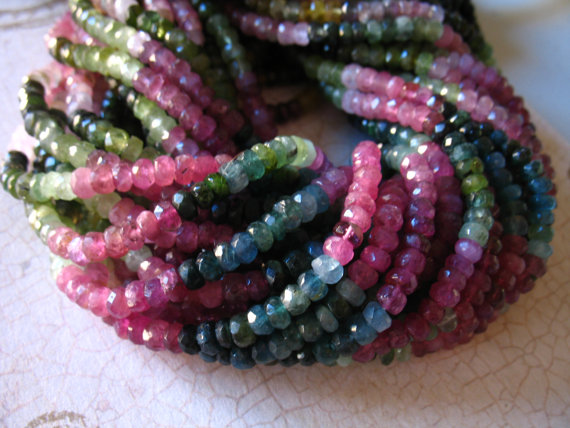 25-100 Pcs / Tourmaline Rondelles Beads, Luxe Aa, 3 Mm, Gemstones Gems Rubellite Pink Green Tourmaline Petrol October Birthstone Wt 30