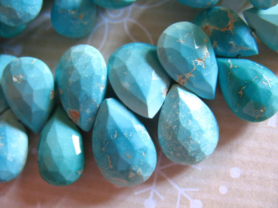 Sleeping Beauty Turquoise Pear Briolette Bead Gemstone, Luxe Aa, 14-15 Mm, Soft Blue To Robins Egg Blue, December Birthstone Solo Tr 1415
