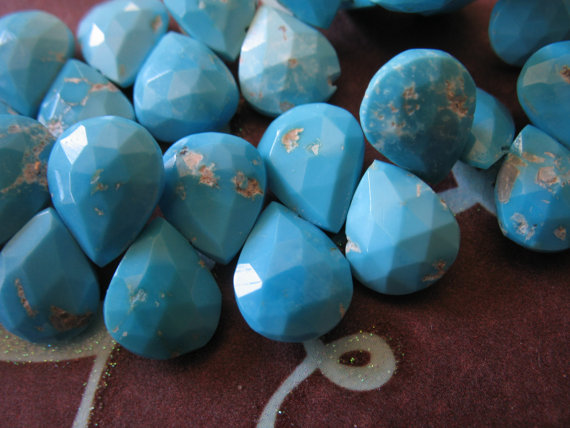 Sleeping Beauty Turquoise Heart Briolette, Matched Pair, Luxe Aaa, Robins Egg Blue, Genuine Arizona Turquoise, December Birthstone Gems 9