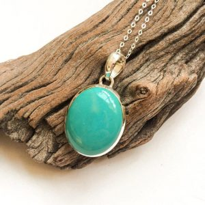 Turquoise Pendant, Natural Turquoise Sterling Silver Pendant, Oval Shape Turquoise Pendant, Intense Blue Turquoise, Healing Crystals, Unisex