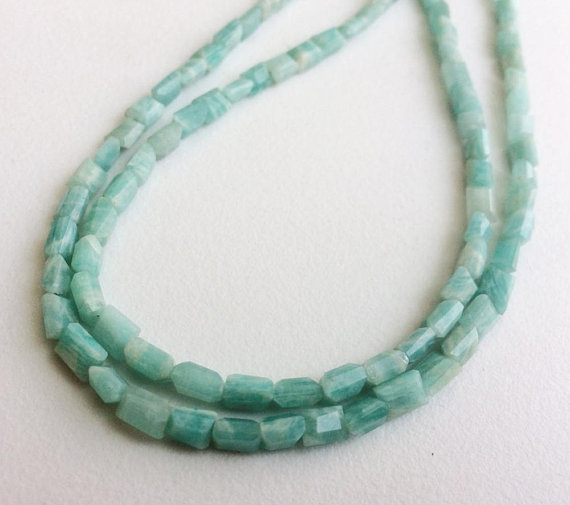 Wholesale 5 Strands Amazonite Chewing Gum Cut Beads, 3-5mm Natural Amazonite Rectangle Cut Beads, 13 Inch Amazonite Necklace - Adg81