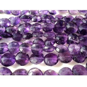Shop Amethyst Faceted Beads! Amethyst Faceted Gemstone, Faceted Coin Beads, 8mm  Approx, 5 Inch Strand, 18 Pieces Approx | Natural genuine faceted Amethyst beads for beading and jewelry making.  #jewelry #beads #beadedjewelry #diyjewelry #jewelrymaking #beadstore #beading #affiliate