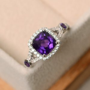 Engagement ring, amethyst ring, purple crystal ring, gemstone ring amethyst, sterling silver, cushion cur amethyst ring | Natural genuine Array jewelry. Buy handcrafted artisan wedding jewelry.  Unique handmade bridal jewelry gift ideas. #jewelry #beadedjewelry #gift #crystaljewelry #shopping #handmadejewelry #wedding #bridal #jewelry #affiliate #ad