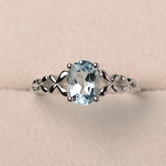 Engagement Ring, Natural Aquamarine Ring, Oval Cut Blue Gemstone, March Birthstone, Sterling Silver Ring, Solitaire Ring
