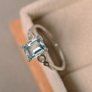 Shop Aquamarine Rings! Natural aquamarine ring, March birthstone, sterling silver, aquamarine engagement ring. | Natural genuine Aquamarine rings, simple unique alternative gemstone engagement rings. #rings #jewelry #bridal #wedding #jewelryaccessories #engagementrings #weddingideas #affiliate #ad