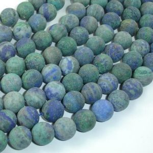 Shop Azurite Round Beads! Matte Azurite Malachite Beads, 10mm(10.3mm) Round Beads, 15 Inch, Full strand, Approx 38 beads, Hole 1mm (129054011) | Natural genuine round Azurite beads for beading and jewelry making.  #jewelry #beads #beadedjewelry #diyjewelry #jewelrymaking #beadstore #beading #affiliate #ad