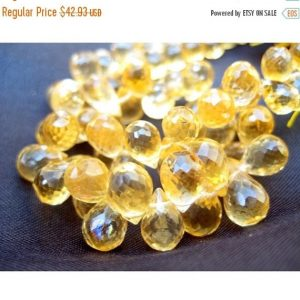 Shop Citrine Faceted Beads! Citrine Faceted Beads, Citrine Briolettes, Tear Drop Beads – 4×7-7×11 mm Approx – 3 Inch Half Strand – | Natural genuine faceted Citrine beads for beading and jewelry making.  #jewelry #beads #beadedjewelry #diyjewelry #jewelrymaking #beadstore #beading #affiliate #ad
