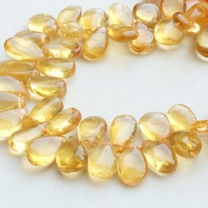 Shop Citrine Bead Shapes! Citrine Beads, Citrine Plain Pear Briolettes, Natural Citrine Necklace, 7x11mm – 9x14mm, 5 Inch, 26 Pcs – RAMA132 | Natural genuine other-shape Citrine beads for beading and jewelry making.  #jewelry #beads #beadedjewelry #diyjewelry #jewelrymaking #beadstore #beading #affiliate #ad