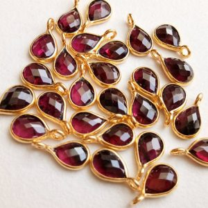Shop Garnet Faceted Beads! 11-13mm Garnet Bezel Connectors, Faceted Garnet Pear Connectors, Single Loop Flat Back 925 Silver with Gold Polish ( 5Pc To 25Pc Options) | Natural genuine faceted Garnet beads for beading and jewelry making.  #jewelry #beads #beadedjewelry #diyjewelry #jewelrymaking #beadstore #beading #affiliate #ad