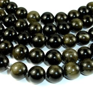 Golden Obsidian, 14mm Round beads, 15 Inch, Full strand, Approx 28 beads, Hole 1 mm, A quality (239054006)