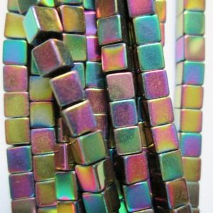 "Shop Hematite Bead Shapes! Hematite Square Beads 3 x 3 mm – Full Strand 16"", 140 beads, Cube Hematite, AA – Quality, Item 14 