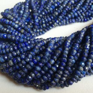 Shop Lapis Lazuli Faceted Beads! 3-3.5mm Lapis Lazuli Faceted Rondelles Beads, Blue Lapis Lazuli Tiny Beads, 13 Inch Lapis Lazuli For Necklace (1Strand To 5Strands Options) | Natural genuine faceted Lapis Lazuli beads for beading and jewelry making.  #jewelry #beads #beadedjewelry #diyjewelry #jewelrymaking #beadstore #beading #affiliate #ad